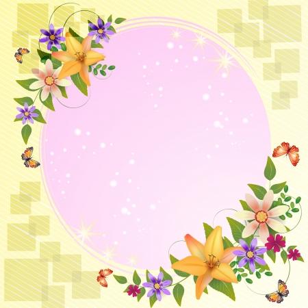 carmine: Fondo con decoraci�n de flores y hermosos