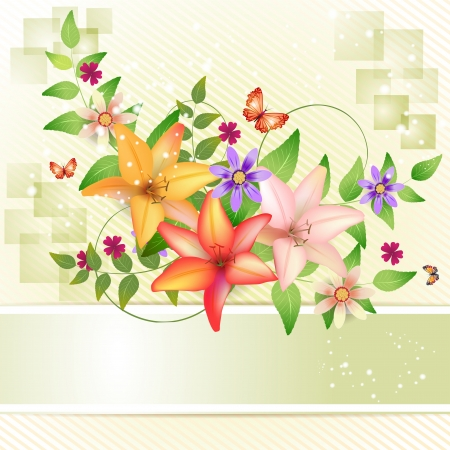 flower design: Springtime background with flowers and butterfly Illustration