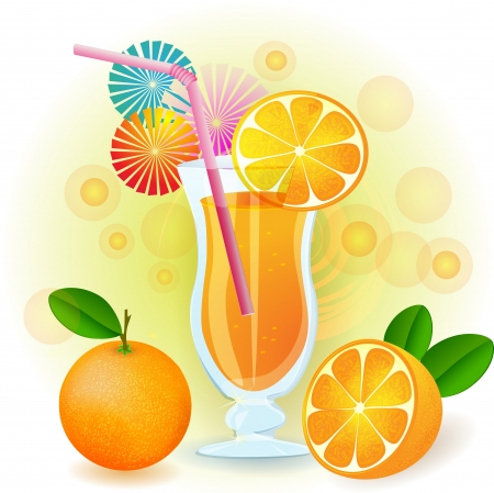 fruity: Orange juice with fresh fruits Illustration
