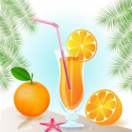 Fresh orange juice with fruits