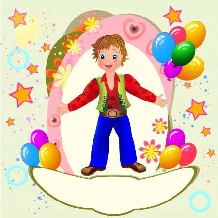 time frame: Kid s party with cute boy and balloons