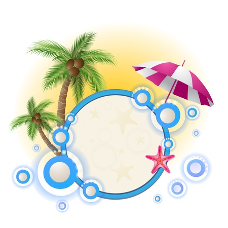 paradise beach: Summer background with palm trees
