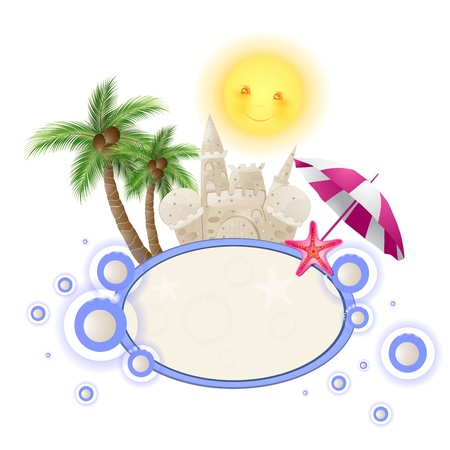 Summer background with castle sand Vector