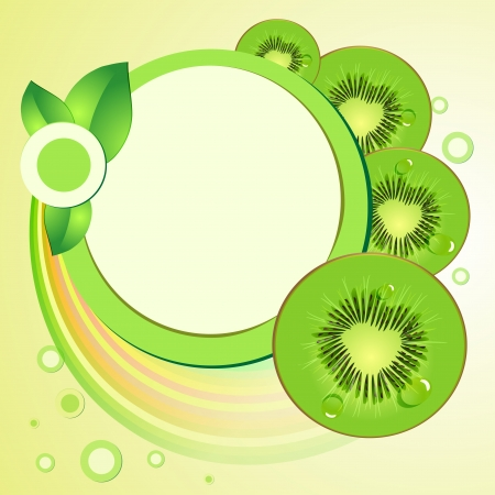 Kiwi slices with abstract background Vector