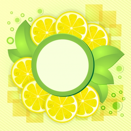 Slices yellow lemon with drops and leafs Vector