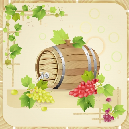 ferment: Wine barrel with grapes