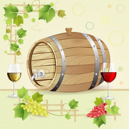 rum: Wine barrel with grapes and glasses