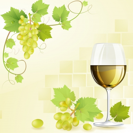 wineglasses: Glass of white wine and grapes