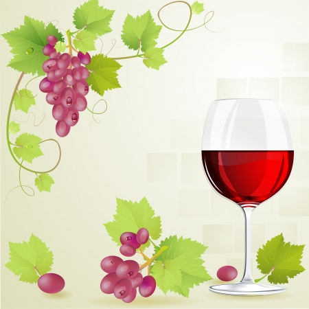 grape fruit: Glass of red wine and grapes