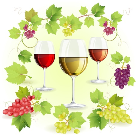 grape fruit: Glasses of wine and grapes Illustration