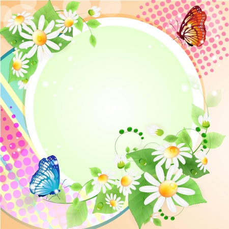 Flowers background with butterflies Stock Vector - 14398061