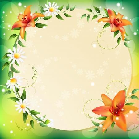 Sfondo estate con bellissimi fiori Vettoriali