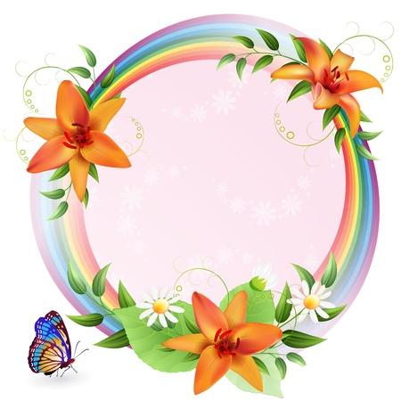 verjaardag frame: Zomer achtergrond met mooie bloemen