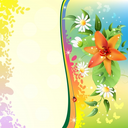 Summer background with beautiful flowers Vector