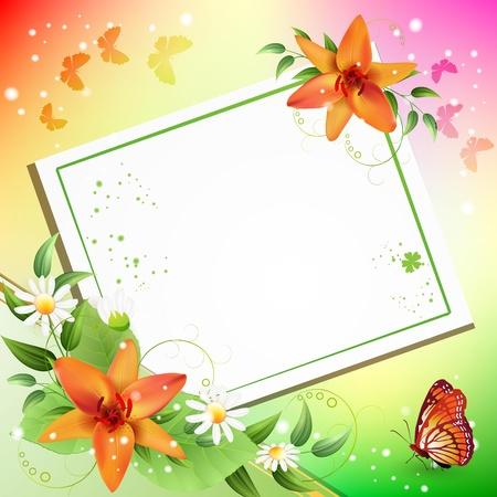 Summer background with beautiful flowers Çizim