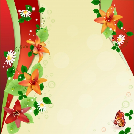 Background with lilies and butterfly Vector