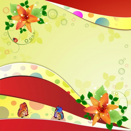 Background with beautiful flowers and butterflies Vector