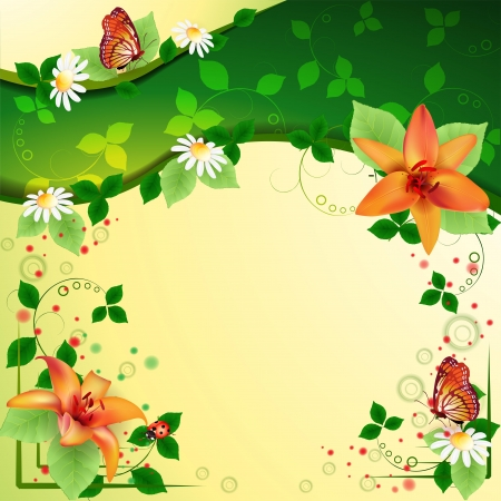 Background with beautiful flowers and butterflies