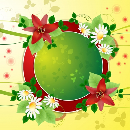 Background with daisies and lilies Vector