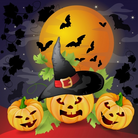 Halloween background with pumpkins Vector