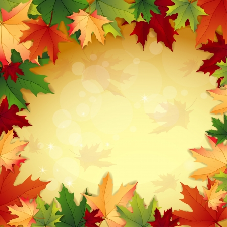 Autumn background with maple  leaves Illustration