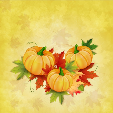 Autumn background with leaves and pumpkins
