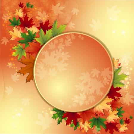 hojas de maple: Fondo del oto�o con las hojas de arce Vectores