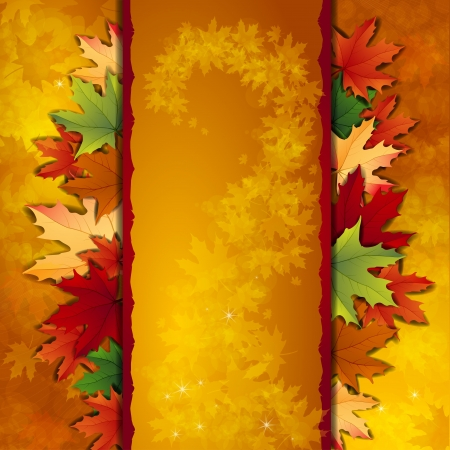 gold textured background: Autumn background with maple leaves