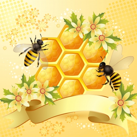 beeswax: Background with bees, honeycomb and flowers