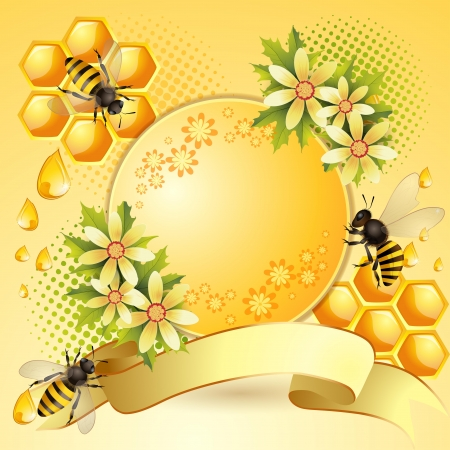 captivated: Background with bees, honeycomb and  flowers Illustration
