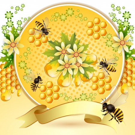Background with bees, honeycomb and  flowers Vectores