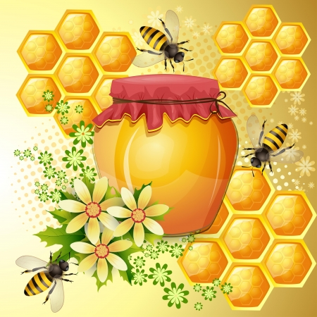 Background with bees and honey jar