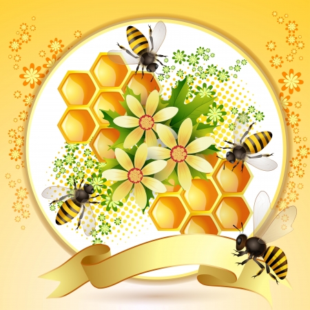 beehive: Background with bees, honeycomb and  flowers Illustration