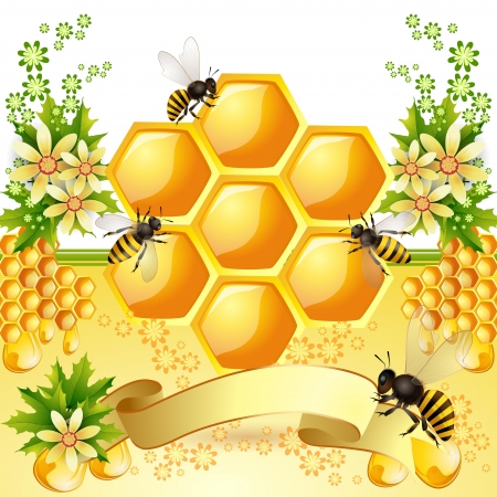 mead: Background with bees, honeycomb and  flowers Illustration