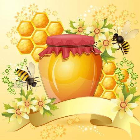 miel et abeilles: Arri�re-plan avec les abeilles et le miel pot