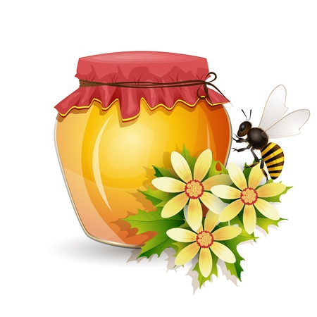 Honey jar with  flowers isolated on white