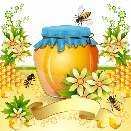 bee on white flower: Background with bees and honey jar