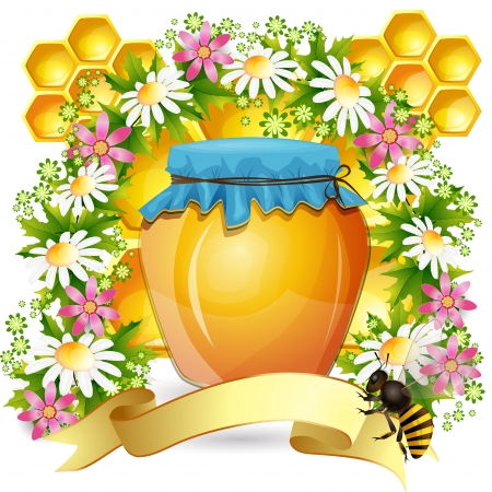 bee on white flower: Background with honeycomb,honey jar and bees