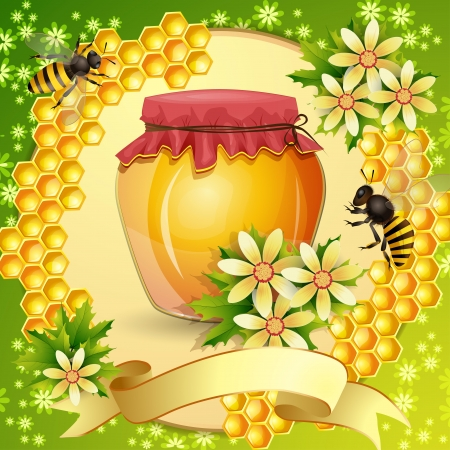 beehive: Background with honeycomb,honey jar and bees