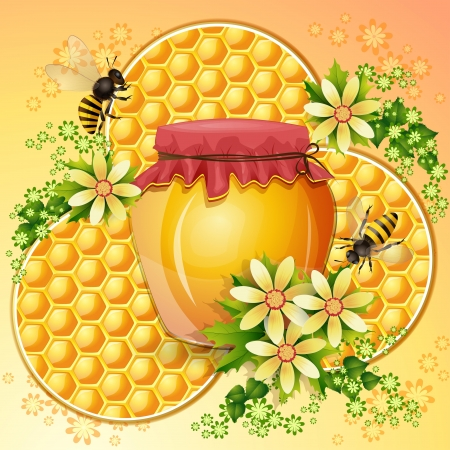 captivated: Background with honeycomb,honey jar and bees