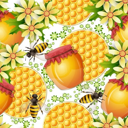 Seamless pattern with honey jar and honeycomb Vector