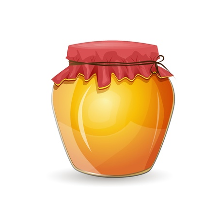 captivated: Honey jar isolated on white