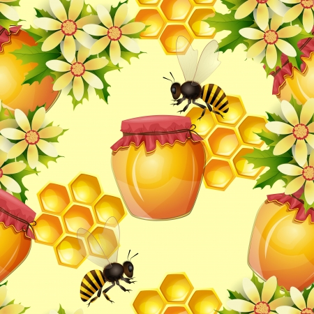 captivated: Seamless pattern with honey jar and honeycomb Illustration