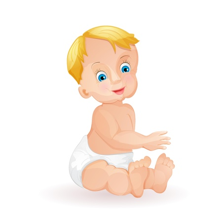 Baby boy isolated on white Vector