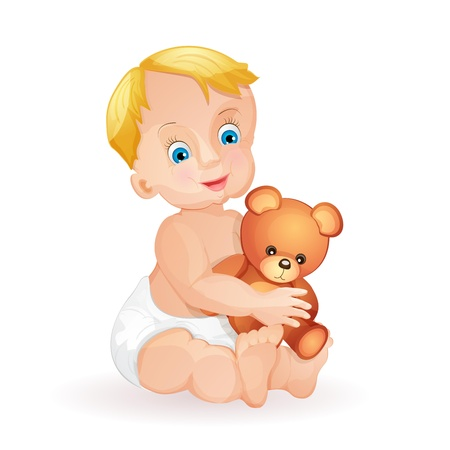 Baby boy holding  teddy bear isolated on white