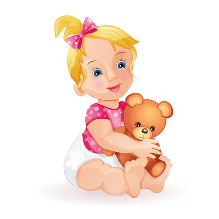 baby playing toy: Cute baby girl holding teddy bear isolated on white