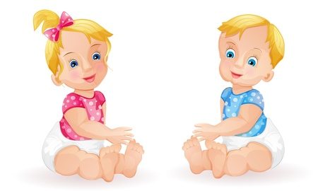 Baby girl and baby boy isolated on white Illustration