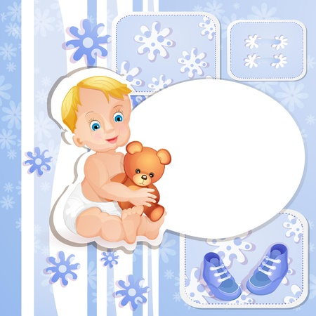 Baby shower card with cute baby boy Vector