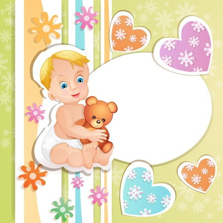 Baby shower card with cute baby boy Stock Vector - 15649757