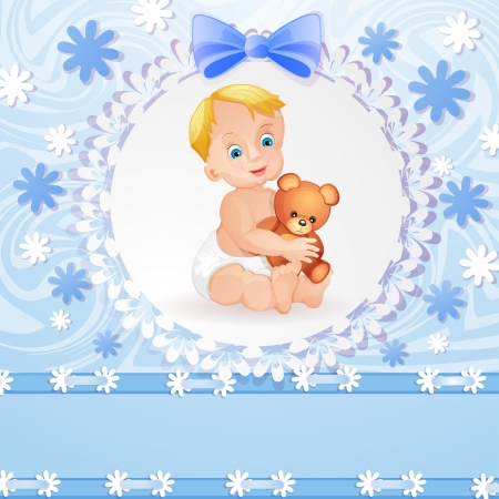baby delivery: Baby shower card with cute baby boy
